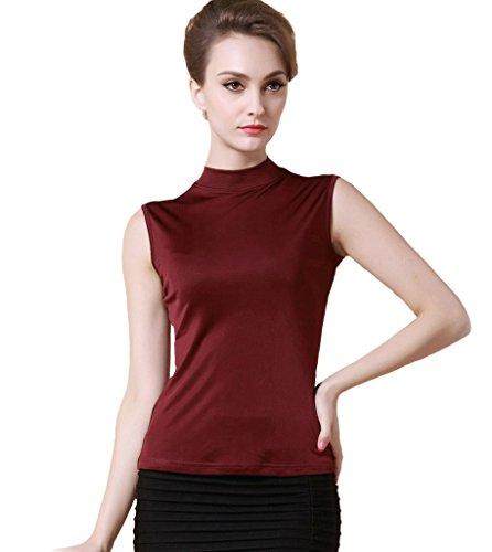Forever Angel Damen ?rmelloses Shirt mit Halbkragen Basic-Top mit Rollkragen 100% Reine Seide Bordeaux Gr??e XS -