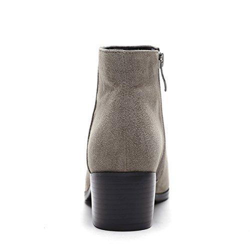 Bottes Pointues Élégantes De Mode D'automne Et D'hiver Avec Les Bottes Épaisses De Glissière Latérale Noires