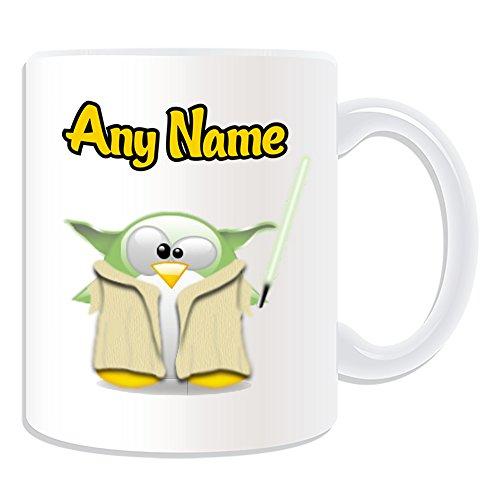Personalisiertes Geschenk–Yoda Tasse (Pinguin Film Charakter Design Thema, weiß)–Jeder Name/Nachricht auf Ihre Einzigartiges–Kostüm Film Superheld Hero Star Wars Jedi Lichtschwert Laser ()