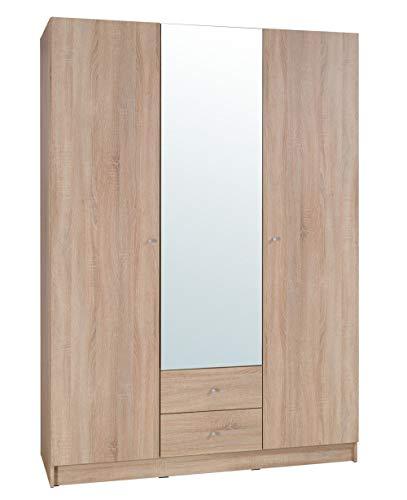 Movian Morava 3-türiger Kleiderschrank mit Spiegel, 150 x 212 x 59cm, Sonoma-Eiche Optik