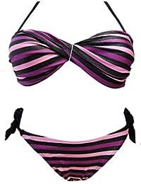 Maillot de bain 2 deux pièces femme bikini bandeau rayé violet plusieurs tailles