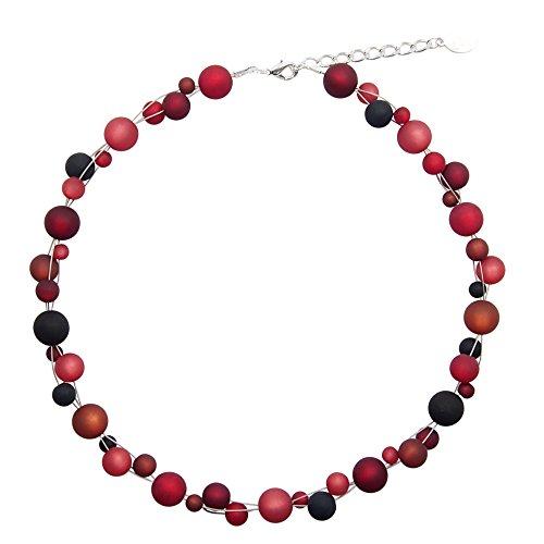Halskette aus echten Polarisperlen ca. 45 cm + 4.5 cm PK1213 bordeaux schwarz (Kostenloser Versand Modeschmuck)