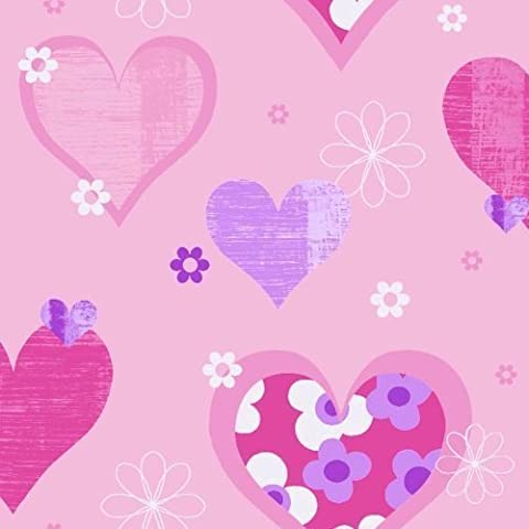 Arthouse 533701 Happy Hearts Wallpaper, Pink