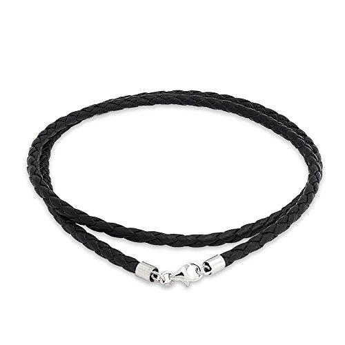 Bling Jewelry 3 mm cordon en cuir tressé noir Collier plaqué argent 18 pouces