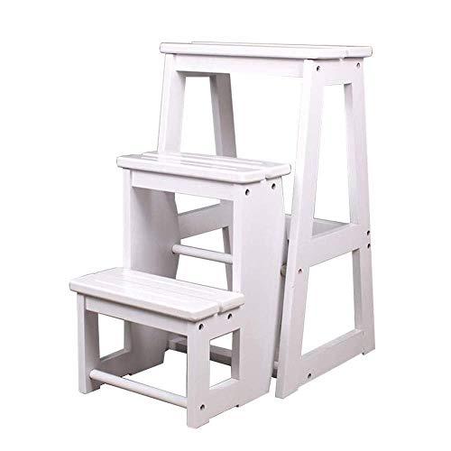 Trittleiter Holzklappbar Klappleiter Barhocker Blumenständer Platzsparend 3 Stufen Hocker (Color : White) - Esszimmer Nussbaum Barhocker