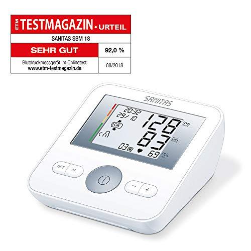 Sanitas SBM 18 Oberarm-Blutdruckmessgerät, Manschettensitzkontrolle, farbige Einstufung der Messergebnisse