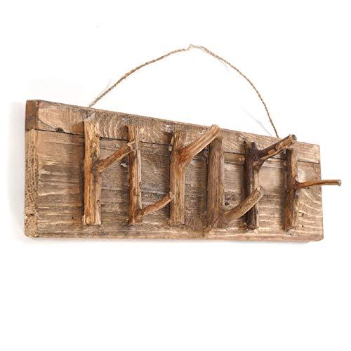 DESIGN DELIGHTS Vintage WANDGARDEROBE Samoa | 60x14x11cm (BxHxT), Recyclingholz | Hakenleiste mit Ästen