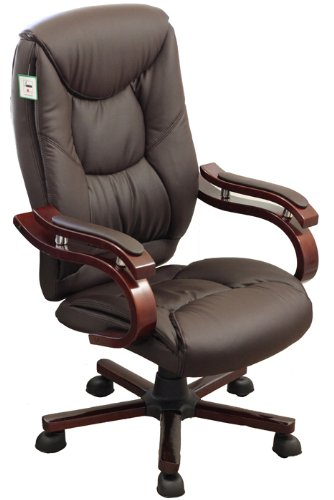 Luxury Wooden Frame Extra Padded Desk Computer Office Chair in Five Colours (Dark Brown)
