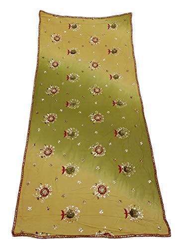 PEEGLI Frauen Indische Dupatta Pailletten Vintage Schal Georgette Mischung DIY Verwendet Stoff Floral Neck Wrap Bollywood Mode Schal Grün Ethnische Hochzeit Designer Stahl -