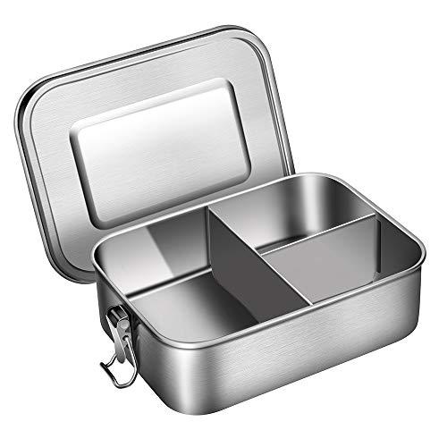Edelstahl Bento Lunch Box, 1200ml Bento Brotdose für Kinder und Erwachsene, Metall Lunchbox mit 3 Fächern und Silikondichtung