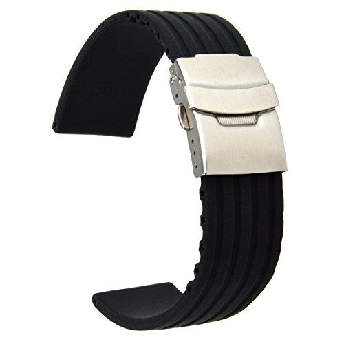 Neuftech® 22mm Silikonkautschuk Uhrenarmbänder Uhr Armband mit Faltschließe - Schwarz