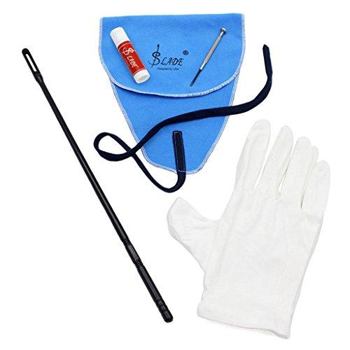 MagiDeal 5-in-1 Reinigung Tool-Set für Flöte, inkl. Reinigungstuch+Stick + Fett + Schraubendreher + Handschuhe