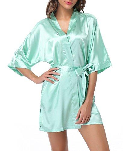 FADSHOW Damen-Kimono-Bademantel aus Satin, kurz, Seide, für Brautpartys - Grün - XXX-Large (3x Sommer-roben Für Frauen)