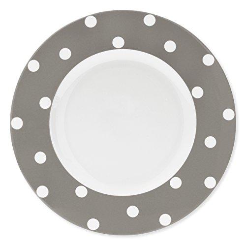 Bruno Evrard Assiette Plate à Pois Taupe en Porcelaine 29cm - Lot de 6 - Freshness Dots
