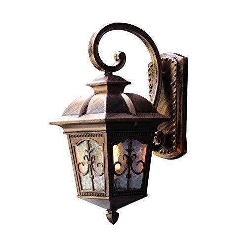 Kupfer Bronze Outdoor-wandleuchte (Retro Wandleuchte Wasserdichtes Öl Reiben Bronze LED Luxus Colonial Outdoor E27 Wandleuchte LCNINGHWBD (Farbe : Kupfer-L))