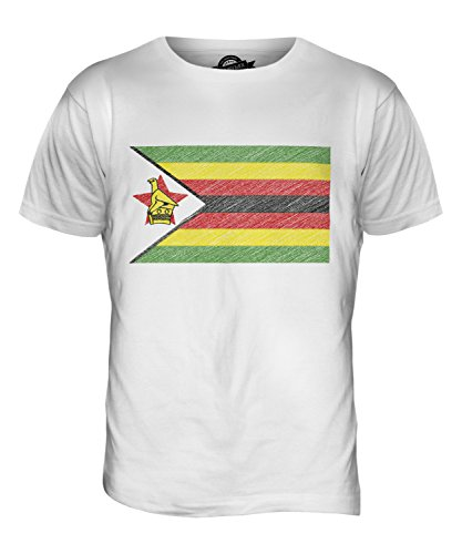 CandyMix Simbabwe Kritzelte Flagge Herren T Shirt Weiß