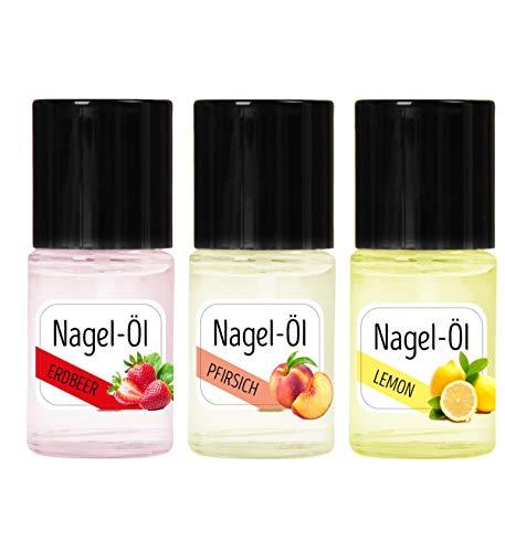 KM-Nails 3er Set Nagelöl Erdbeere+Pfirsich+Lemon je 15ml