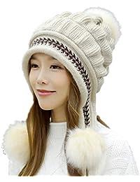 Hibote Mode Femme Casquette Plate d automne-Hiver Bonnet Keep Warm Tricotée  Doublure Polaire Fausse Fourrure et… 528c73a5991