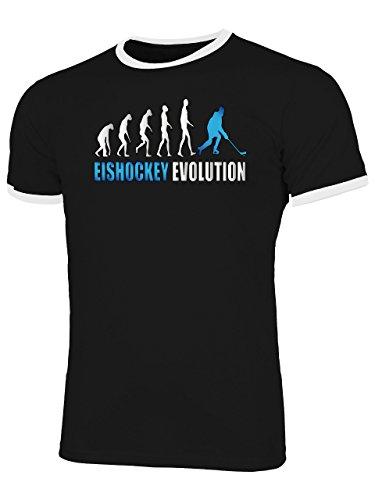Eishockey Evolution 528 Fanshirt Shirt Tshirt Fanartikel Fanshirt Männer Sportbekleidung Herren Ringer T-Shirts Schwarz Weiss Aufdruck Blau XXL
