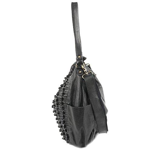 Taschendieb Wien Schultertasche Leder 39 cm Anthrazit