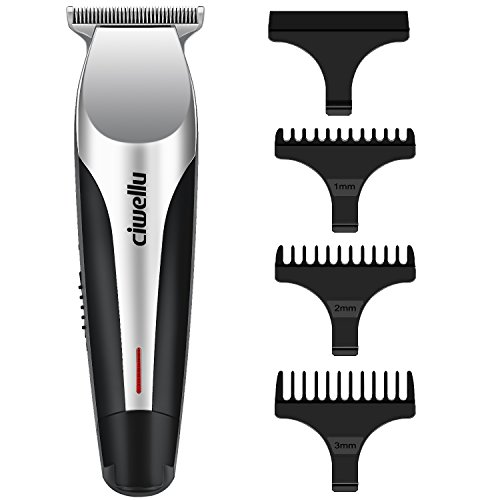 Beard Trimmer Rechargeable Close Cut Hair Clippers Cordless Body Grooming Kit For Men Kids Baby With 3 Adjustment Combs And 2 Modes USB Port Charging By CiwelluSilver