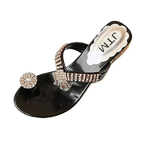 Dorical Blockabsatz Zehentrenner für Damen,Frauen Crystal Sandalen Flip Flops Sommer Strand Schuhe Bequeme Sommerschuhe Schöne Zehenstegsandalen Freizeitschuhe Gr 35-41(Schwarz,37 EU) -