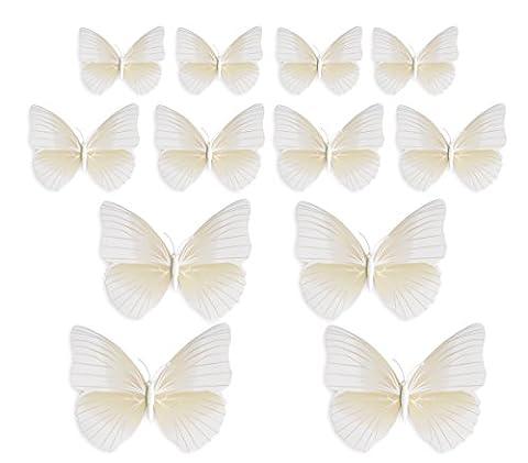 FiveSeasonStuff Lot de 24 Blanc Stickers Muraux Collection de 3D Papillons avec épingle de sûreté pour robe de mariée et vêtements