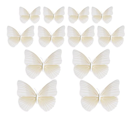 Fiveseasonstuff® 24 pezzi merci di qualità collezione di 3d farfalle stile / per gli autoadesivi decorazione (24 pezzi biano 3d farfalle con spilla da balia (per tendaggi tende e vestiti) hj015)