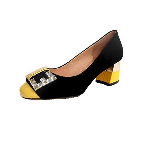 VogueZone009 Femme à Talon Correct Matière Souple Couleurs Mélangées Tire Chaussures Légeres Jaune