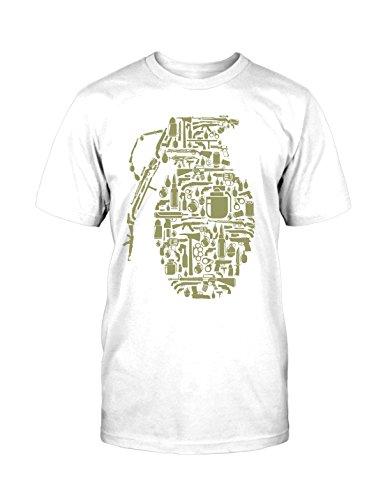 Granate T-Shirt Neu Fun Handgranate Old School Funny War Krieg Game Retro Kult Weiß