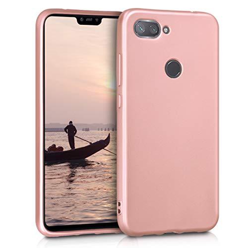 kwmobile Funda para Xiaomi Mi 8 Lite - Carcasa para móvil en TPU Silicona - Protector Trasero en Oro Rosa Metalizado