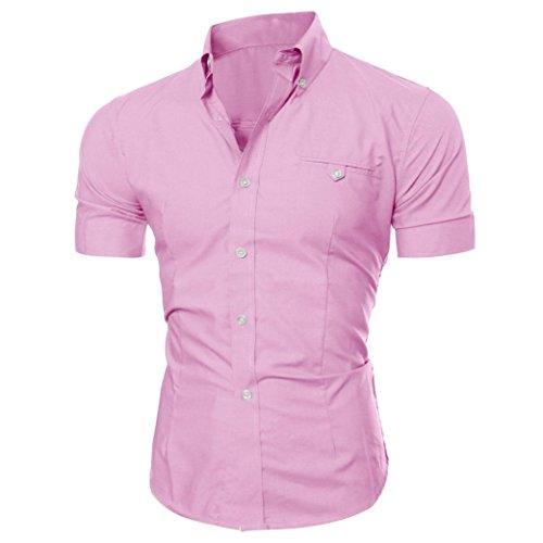Winwintom Los hombres de negocios de lujo elegante moda Casual Slim Fit de manga corta camiseta (M, Rosa)