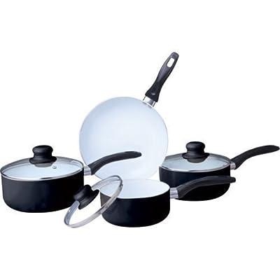 7PC CERAMIC COOKWARE SET SAUCEPAN POT GLASS LID KITCHEN FRY PAN FRYING NON STICk