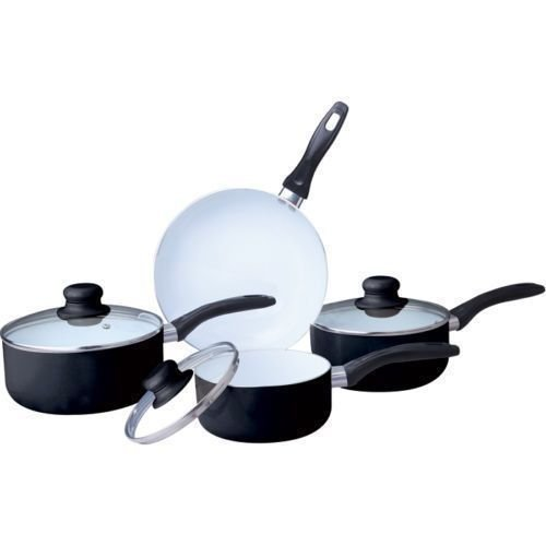 7PC CERAMIC COOKWARE SET SAUCEPAN POT GLASS LID KITCHEN FRY PAN FRYING NON STICk (Black Ceramic Coated)
