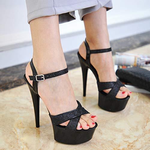 MENGLTX High Heels Sandalen 15Cm Super High Heel Sandalen Model T Stage Catwalk Schuhe Stiletto wasserdichte Nachtclub Pole Dance Schuhe, Schwarz, 38