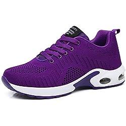 Zapatillas Deportivas de Mujer Air Cordones Zapatillas de Running Fitness Sneakers 4cm Púrpura-1 40
