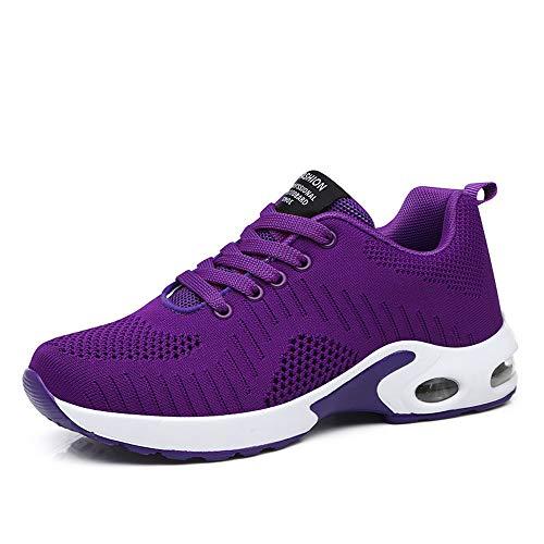 Zapatillas Deportivas de Mujer Air Cordones Zapatillas de Running Fitness Sneakers 4cm Púrpura-1 35