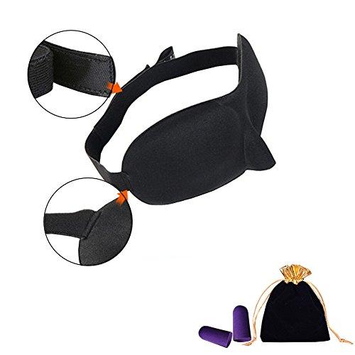 Antifaz 3D para dormir - Regalo ideal para hombre o mujer, forma contorneada, cómoda y ligera máscara de dormir para viajes, dormir, Bolsa de transporte de viaje y tapones para los oídos.