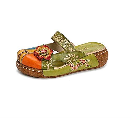 Damen Sandalen,Popoti Leder Sandalen Leicht Slippers Hausschuhe Pantoletten Sommer Pumps Vintage Aushöhlen Backless Blume Schuhe Zehentrenner 2018 (Grün, 42)