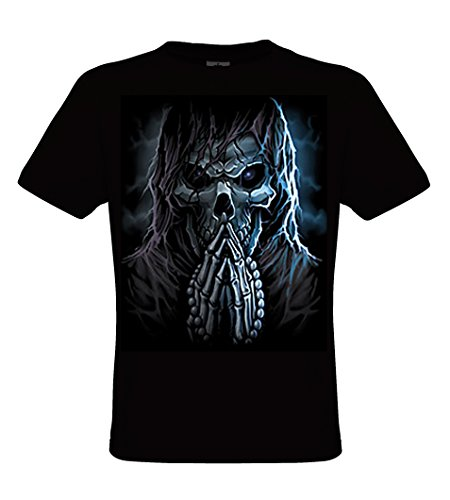 DarkArt-Designs Praying Reaper - Camiseta gótica de cráneo para hombres y mujeres - Estilo de Vida T-Shirt regular fit, negro, L