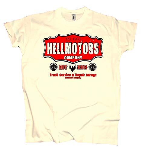 HELLMOTORS Company Oldschool Herren T-Shirt Hotrod & V8 Style Creme (M) -