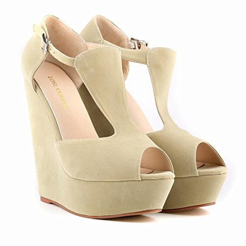 Oasap Women's Peep Toe Buckle Wedge Heels Sandals Yellow
