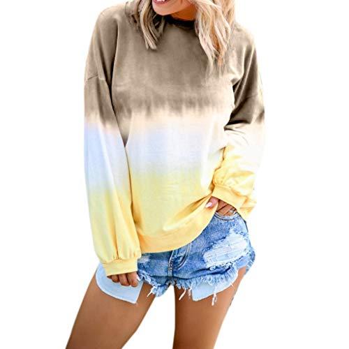 SSUPLYMY Sweatshirt Damen Farbverlauf Langarm Pullover T-Shirt Shirt Top Frauen Casual O-Neck Langarm Top Sweatshirt Locker Langarm T-Shirt Tops Casual Mode Herbst Winter T-Shirt -