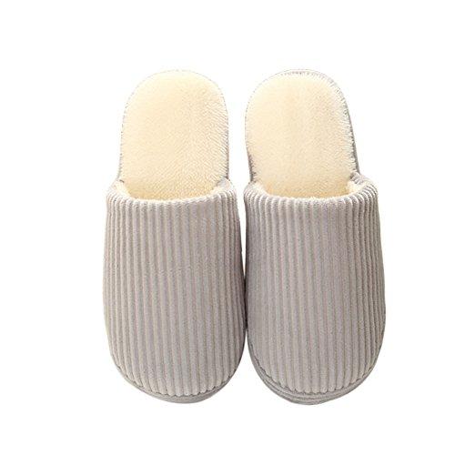 Zhuhaixmy Unisex Classic Zuhause Baumwolle Schuhe Warm Non-slip Floor Hausschuhe Grey