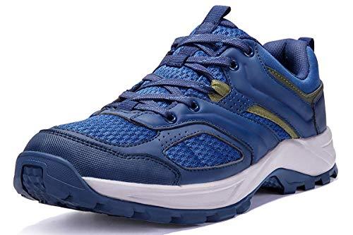 CAMEL CROWN Herren Wanderschuhe rutschfeste Atmungsaktive Trekking-& Wanderhalbschuhe Männer Low Top Outdoorschuhe Traillaufschuhe Bequem Leicht Sports Sneaker Schuhe,Blau,44 EU