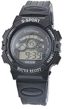 MJARTORIA Damen Herren Armbanduhr Digital Uhr Multifunktion für Kinder Jungen Wasserdicht Sportuhr Schwarz 23cm