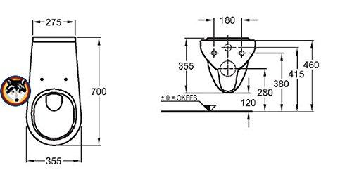 Keramag Allia Paris Wand WC 70 cm verlängert WC Sitz weiss Seniorengerecht