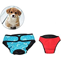 UEETEK 2 PCS Pet Dog Puppy Pañal Higiénico fisiológico Pants Female Dog Shorts Bragas Menstruación Ropa interior Tamaño XS