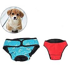 UEETEK 2 PCS Pet Dog Puppy Pañal Sanitario Physiological Pants Female Dog Shorts Bragas Menstruación Underwear