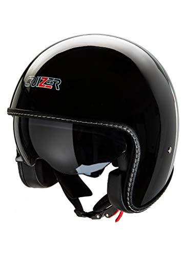 CRUIZER - Casco omologato nero lucido per scooter moto Demi Jet con visiera sole a scomparsa, interni antibatterici ed anallergici (S)